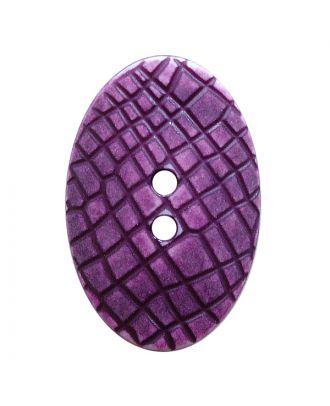 "polyamide button oval-shaped ""Vintage Look"" with fine structure and 2 holes - Size: 30mm - Color: lila - Art.No.: 387807"