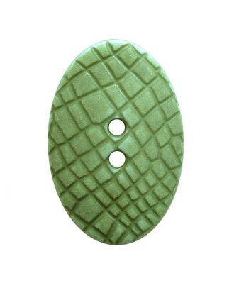 "polyamide button oval-shaped ""Vintage Look"" with fine structure and 2 holes - Size: 25mm - Color: hellgrün - Art.No.: 347808"