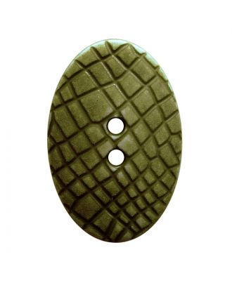 "polyamide button oval-shaped ""Vintage Look"" with fine structure and 2 holes - Size: 30mm - Color: khaki - Art.No.: 387809"