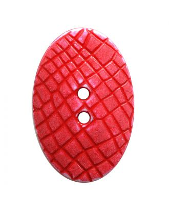 "polyamide button oval-shaped ""Vintage Look"" with fine structure and 2 holes - Size: 30mm - Color: rot - Art.No.: 387810"