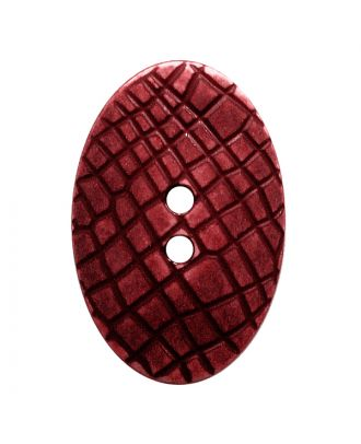 "polyamide button oval-shaped ""Vintage Look"" with fine structure and 2 holes - Size: 25mm - Color: weinrot - Art.No.: 347811"