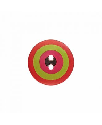 "Kaffe Fassett Button ""Target"", polyamide round shape 2 holes - Size: 15mm - Color: red/green/pink/black - Art.-Nr.: 261396"