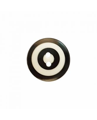 "Kaffe Fassett Button ""Target"", polyamide round shape 2 holes - Size: 15mm - Color: white/black - Art.-Nr.: 261393"