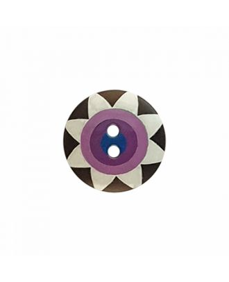 "Kaffe Fassett Button ""Star Flower"", polyamide round shape 2 holes - Size: 20mm - Color: black/white/purple/violet/navy - Art.-Nr.: 300989"