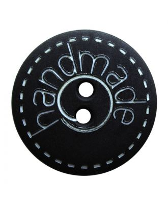 "polyamide button round shape with matt surface,""handmade""-labeling and 2 holes - Size: 18mm - Color: schwarz - Art.No.: 261406"