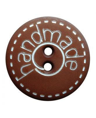 "polyamide button round shape with matt surface,""handmade""-labeling and 2 holes - Size: 15mm - Color: braun - Art.No.: 241268"