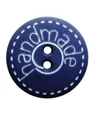 "polyamide button round shape with matt surface,""handmade""-labeling and 2 holes - Size: 18mm - Color: blau - Art.No.: 261408"