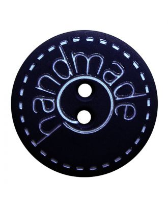 "polyamide button round shape with matt surface,""handmade""-labeling and 2 holes - Size: 15mm - Color: dunkelblau - Art.No.: 241270"