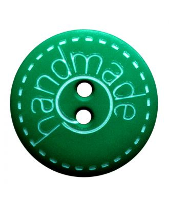 "polyamide button round shape with matt surface,""handmade""-labeling and 2 holes - Size: 18mm - Color: grün - Art.No.: 261410"