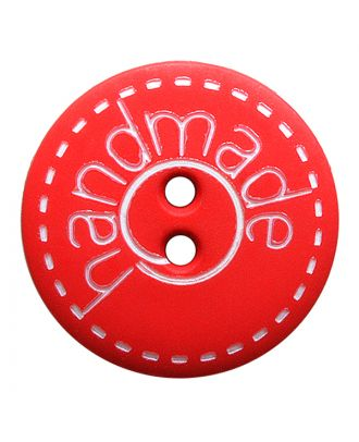 "polyamide button round shape with matt surface,""handmade""-labeling and 2 holes - Size: 15mm - Color: rot - Art.No.: 241272"
