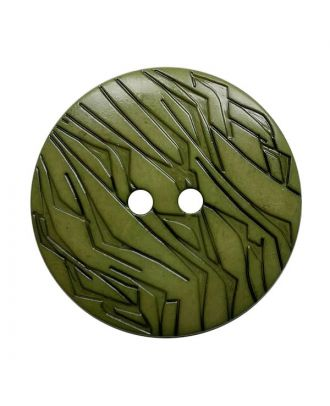 polyamide button round shape with black lacquer and 2 holes - Size: 23mm - Color: khaki - Art.No.: 342031