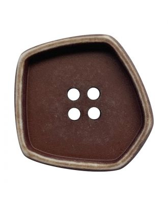 """polyamide button square-shaped """"vintage look"""" with 4 holes - Size: 20mm - Color: braun - Art.No.: 332006"""