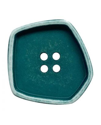 """polyamide button square-shaped """"vintage look"""" with 4 holes - Size: 30mm - Color: petrol - Art.No.: 392006"""