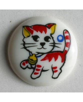 Cat button - Size: 15mm - Color: white - Art.No. 210562