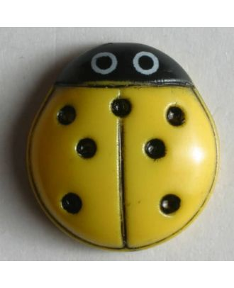 Ladybird button - Size: 15mm - Color: yellow - Art.No. 280578