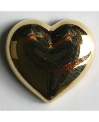Heart button, metallized plastic - Size: 20mm - Color: gold - Art.No. 280506