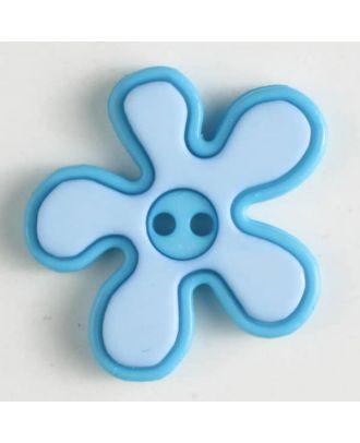 polyamide button, flower, 2-holes - Size: 20mm - Color: blue - Art.No. 281039