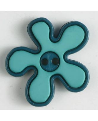 polyamide button, flower, 2-holes - Size: 20mm - Color: green - Art.No. 281041