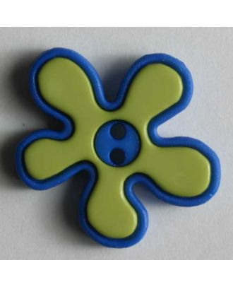 polyamide button, flower, 2-holes - Size: 20mm - Color: green - Art.No. 280787