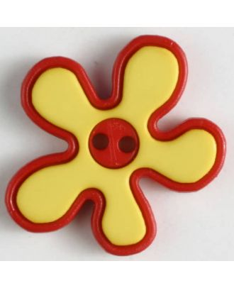 polyamide button, flower, 2-holes - Size: 20mm - Color: yellow - Art.No. 281045