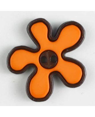 polyamide button, flower, 2-holes - Size: 20mm - Color: orange - Art.No. 281046