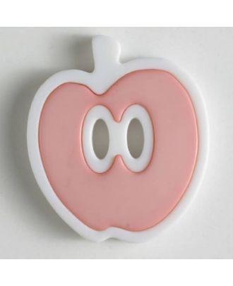apple  button 2 holes - Size: 25mm - Color: pink - Art.No. 330773