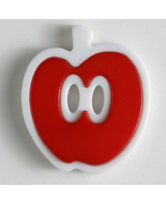 apple  button 2 holes - Size: 25mm - Color: red - Art.No. 330775