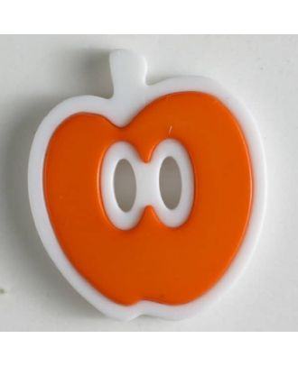 apple  button 2 holes - Size: 25mm - Color: orange - Art.No. 330779