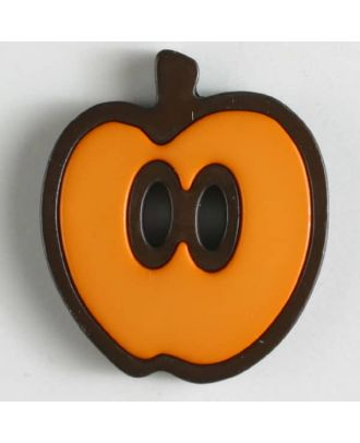 apple  button 2 holes - Size: 25mm - Color: orange - Art.No. 330778