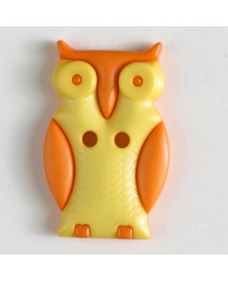 Owl with two holes - Size: 25mm - Color: yellow - Art.No. 330802