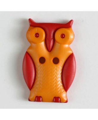 Owl with two holes - Size: 25mm - Color: orange - Art.No. 330803