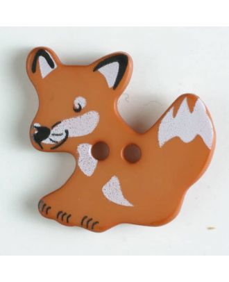 fox button with holes - Size: 25mm - Color: brown - Art.No. 330871