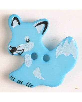 fox button with holes - Size: 25mm - Color: blue - Art.No. 330872