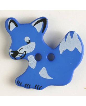 fox button with holes - Size: 25mm - Color: blue - Art.No. 330873