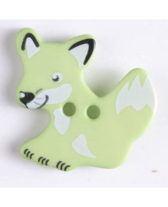 fox button with holes - Size: 25mm - Color: green - Art.No. 330874