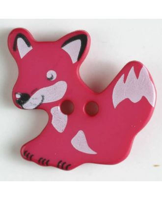 fox button with holes - Size: 25mm - Color: pink - Art.No. 330875