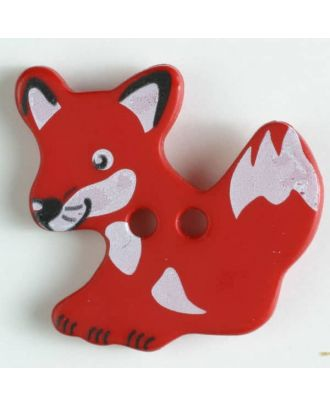 fox button with holes - Size: 25mm - Color: red - Art.No. 330876