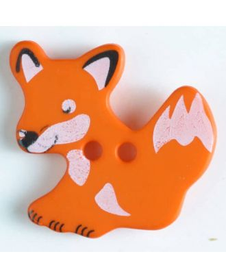 fox button with holes - Size: 25mm - Color: orange - Art.No. 330877
