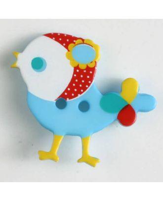 polyamide button, bird, 2 holes - Size: 25mm - Color: blue - Art.No. 330878