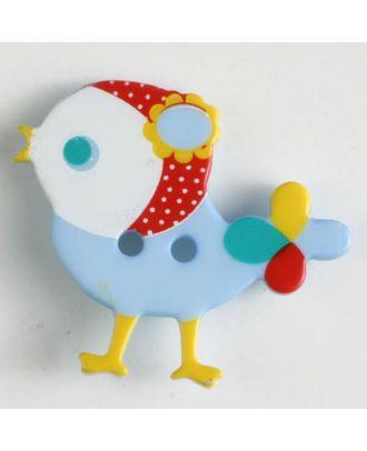 polyamide button, bird, 2 holes - Size: 25mm - Color: blue - Art.No. 330879