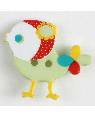 polyamide button, bird, 2 holes - Size: 25mm - Color: green - Art.No. 330881