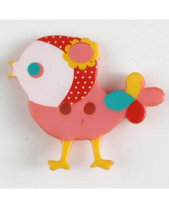 polyamide button, bird, 2 holes - Size: 25mm - Color: pink - Art.No. 330882