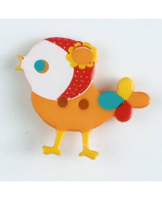 polyamide button, bird, 2 holes - Size: 25mm - Color: orange - Art.No. 330883