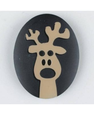 polyamide button, elk, 2 holes - Size: 30mm - Color: black - Art.No. 370693