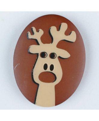 polyamide button, elk, 2 holes - Size: 30mm - Color: brown - Art.No. 370699