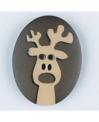polyamide button, elk, 2 holes - Size: 30mm - Color: brown - Art.No. 370694