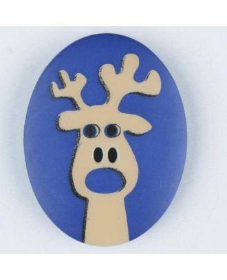 polyamide button, elk, 2 holes - Size: 23mm - Color: blue - Art.No. 331009