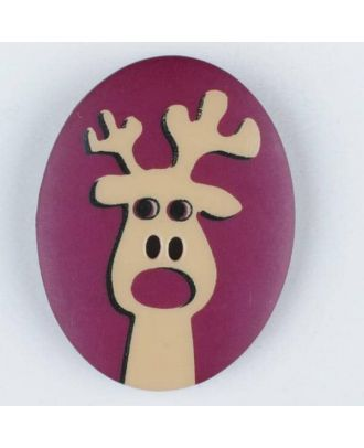 polyamide button, elk, 2 holes - Size: 30mm - Color: lilac - Art.No. 370697