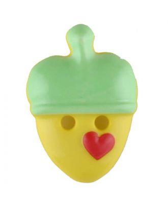 Acorn, 2 holes - Size: 20mm - Color: green - Art.No. 310957