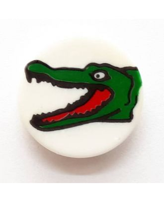 novelty button crocodile with shank - Size: 17mm - Color: white  - Art.No. 261276